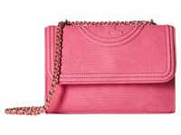 Tory Burch Fleming Snake Convertible Small Shoulder Bag Hibiscus Flower Shoulder Handbags Pink