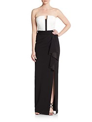 Alice Olivia Meghan Strapless Tuxedo Gown Off White Black