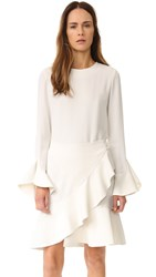 Goen.J Long Sleeve Ruffle Dress Ivory