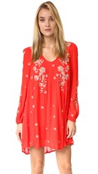 Free People Sweet Tennessee Embroidered Mini Dress Red Combo