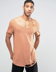 Asos Super Longline T Shirt With Heavy Distressing And Slashing With Scoop Neck In Camel Camel Tan