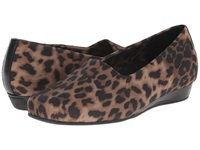 Vionic With Orthaheel Technology Treat Powell Low Wedge Tan Leopard Strech Women's Wedge Shoes Animal Print