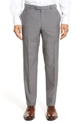 Boss Men's 'Leenon' Flat Front Houndstooth Wool Trousers Charcoal