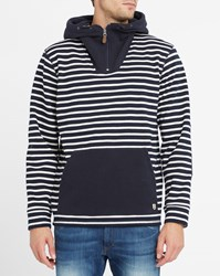 Armor Lux Navy Striped Fleece Lined Hoody Blue