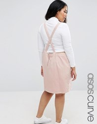 Asos Curve Open Back Denim Mini Pinafore Dress In Pink Pink