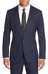 Men's Big And Tall Bonobos Trim Fit Wool Blazer Navy Herringbone