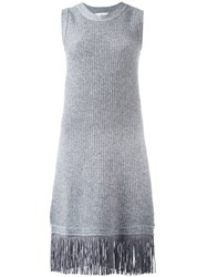 Allude Sleeveless Fringed Dress Grey