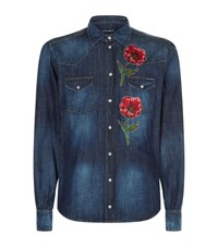 Dolce And Gabbana Embroidered Western Denim Shirt Male Blue
