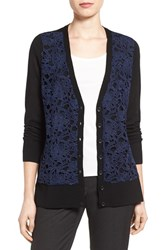 Halogenr Women's Halogen V Neck Lightweight Merino Cardigan Black Navy P Lace