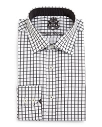 English Laundry Check Woven Dress Shirt Black