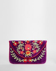 Moyna Velvet Envelope Clutch Bag With Embroidery Purple