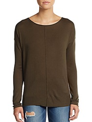 Vince Long Sleeve Silk And Cashmere Boatneck Sweater Forest
