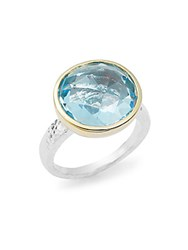 Gurhan Faceted Blue Topaz 24K Gold Plated And Sterling Silver Ring Silver Gold