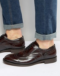 Hudson London Heyford Leather Oxford Brogues Red