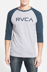 'Big Rvca' Graphic Baseball T Shirt Athletic Heather Midnight