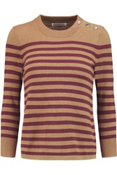 Etoile Isabel Marant Noah Striped Cotton And Wool Blend Sweater Brown