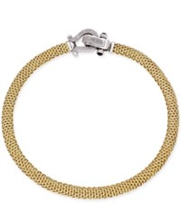Macy's Diamond Horseshoe Clasp Mesh Necklace 5 8 Ct. T.W. In 14K Gold Plated Sterling Silver Gold Over Sterling Silve