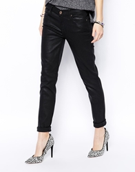 7 For All Mankind Leather Look Skinny Jeans Black