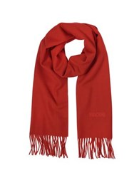 Moschino Solid Wool Signature Long Scarf W Fringe Red