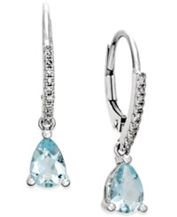 Macy's Aquamarine 1 1 10 Ct. T.W. And Diamond 1 10 Ct. T.W. Drop Earrings 14K White Gold Blue