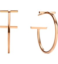 Tiffany And Co. T Wire Hoop Earrings In 18K Rose Gold Medium
