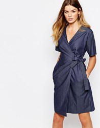People Tree Organic Fairtrade Cotton Wrap Front Dress In Chambray Denim Look Blue