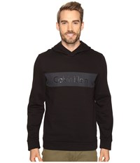 Calvin Klein Long Sleeve Fabric Blocked Printed Hoodie Black Men's Sweatshirt