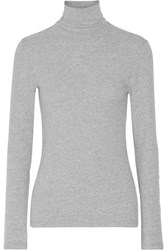 James Perse Brushed Cotton Blend Jersey Turtleneck Top Gray