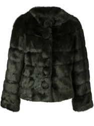 Twin Set Faux Fur Jacket Green