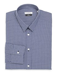 Versace Trim Fit Checked Cotton Dress Shirt Blue