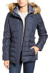Larry Levine Women's Water Repellent Quilted Jacket With Faux Fur Trim Midnight