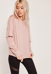 Missguided Double Layered Sleeve Sweatshirt Pink Nude