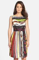 'Galaxy Stripe' Belted Print Twill Fit And Flare Dress Grey Multi