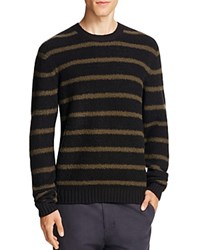 Vince Stretch Merino Wool Textured Striped Sweater Black Army Green