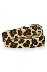 Topshop Women's Leopard Print Genuine Calf Hair Belt