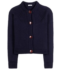 Miu Miu Virgin Wool Cardigan Blue
