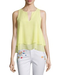 Tory Burch Alex Layered Sleeveless Silk Top Lemon Curd Women's