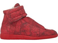Maison Martin Margiela Men's Cracked Leather Ankle Strap Sneakers Red Size 7 M