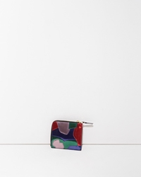 Comme Des Garcons Metallic Patchwork Side Zip Wallet Multicolor