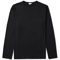 Sunspel Long Sleeve Q2 Crew Neck Tee Black