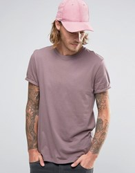 Asos T Shirt With Crew Neck And Roll Sleeve In Purple Violet Grey