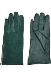 Sandro Alexy Leather And Suede Gloves Green