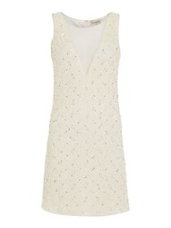 Lace And Beads Short Sleeve Mesh Bodycon Dress Cream