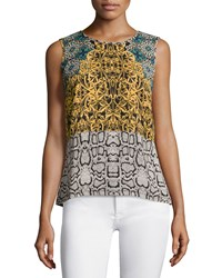 Laundry By Shelli Segal Sleeveless Round Neck High Low Blouse Fanfare Multi