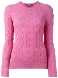Ralph Lauren Crew Neck Jumper Pink And Purple