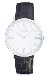 Men's Boss Leather Strap Watch 40Mm Black White
