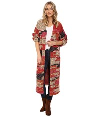 Free People On My Mind Cardi Red Combo Women's Sweater