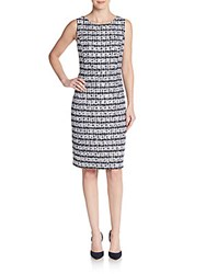 Oscar De La Renta Woven Tweed Dress Navy White