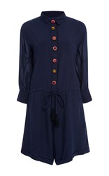 Rhode Resort Cece Button Front Romper Navy