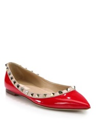 Valentino Rockstud Patent Leather Ballet Flats Red Fuschia Blush Black